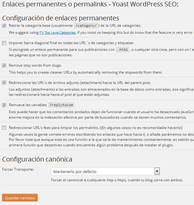 Configurar plugin Yoast WordPress SEO - Enlaces permanentes o permalinks