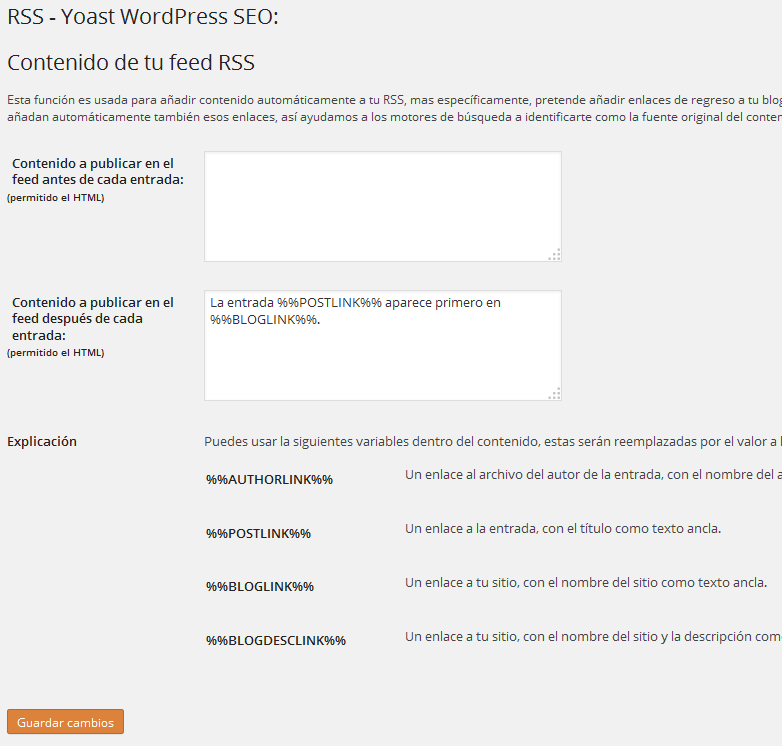 Configurar plugin Yoast WordPress SEO - RSS