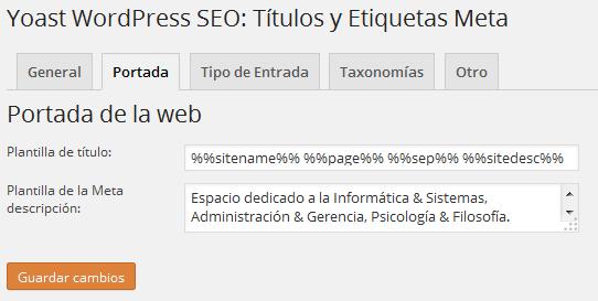 Yoast WordPress SEO Títulos y Etiquetas Meta Portada
