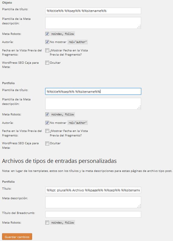 Yoast WordPress SEO Títulos y Etiquetas Meta Tipo de Entrada