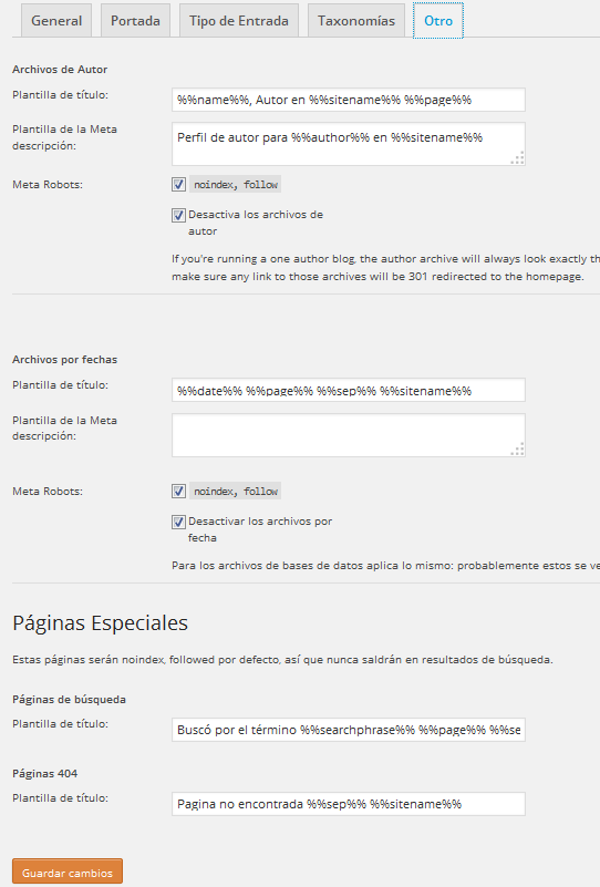 Yoast WordPress SEO Títulos y Etiquetas Meta Tipode Otro