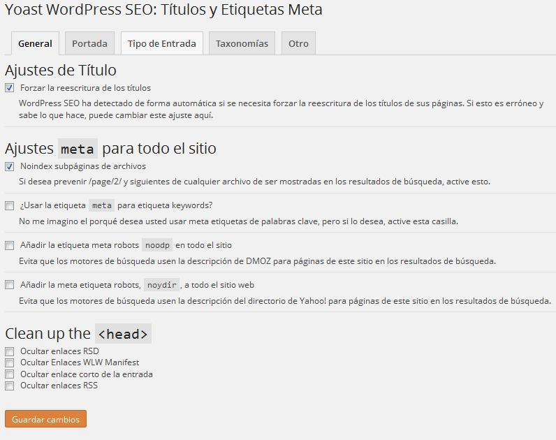 Configurar plugin Yoast WordPress SEO - Títulos y Etiquetas Meta
