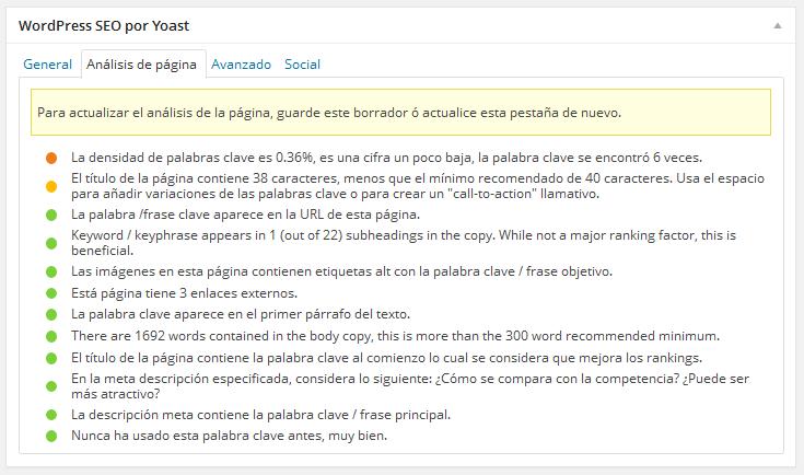 WordPress SEO by Yoast Analisis de pagina