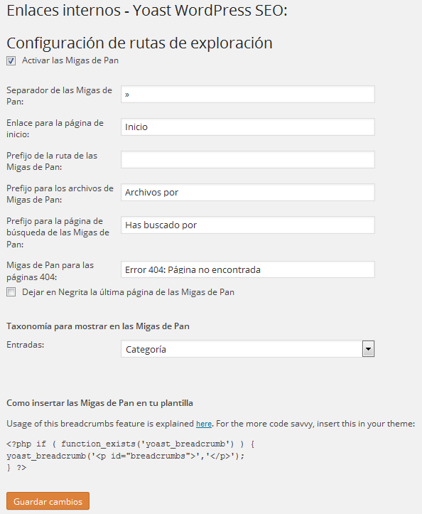 Configurar plugin Yoast WordPress SEO - Enlaces Internos