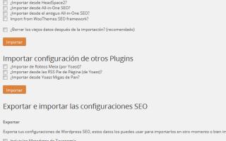 Configurar plugin Yoast WordPress SEO – Importar y Exportar