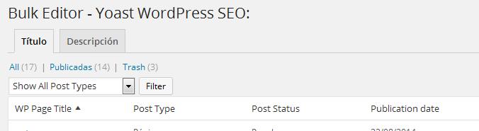 Configurar plugin Yoast WordPress SEO - Bulk Editor