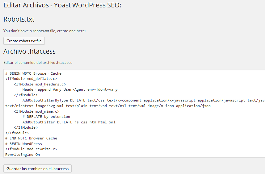 Configurar plugin Yoast WordPress SEO - Editar Archivos