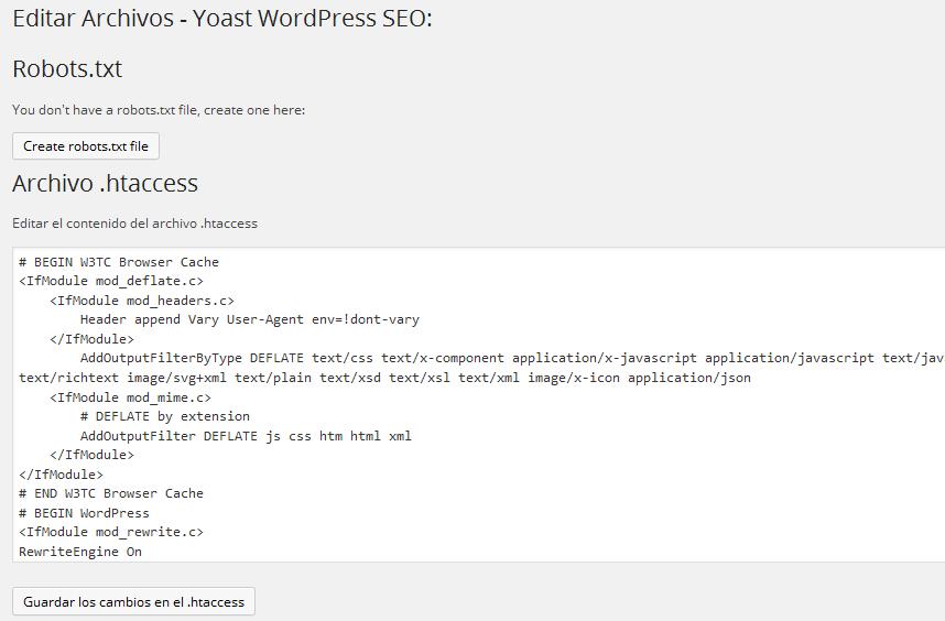 Configurar plugin Yoast WordPress SEO - Editar Archivos